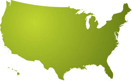 Illustration of a map of the us in different shades of green isolated on a white background