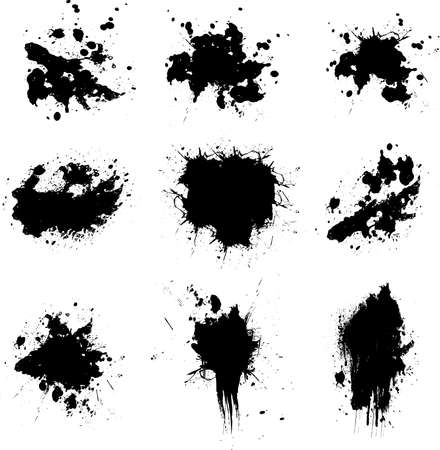 Illustration of many ink splats in black ready for you to place your own text over Stock Illustration - 1366580