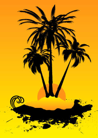that: Remote deserted island illustration that is an ideal holiday destination
