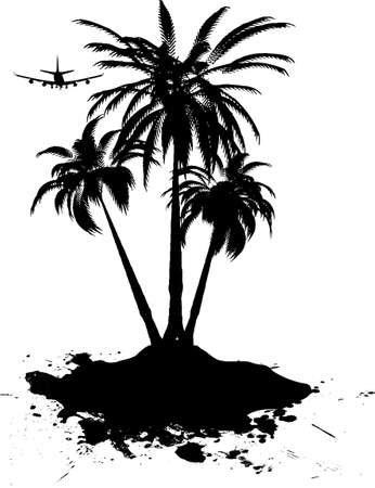sway: Palm tree sway in the hot summer breeze as your plane glides into your holiday destination Stock Photo