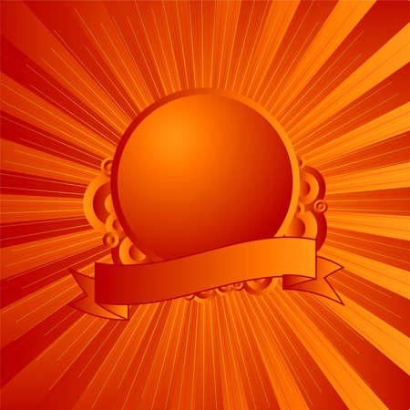 オレンジと黄色のロゴやテキストを追加することのための部屋をモダンなシールド