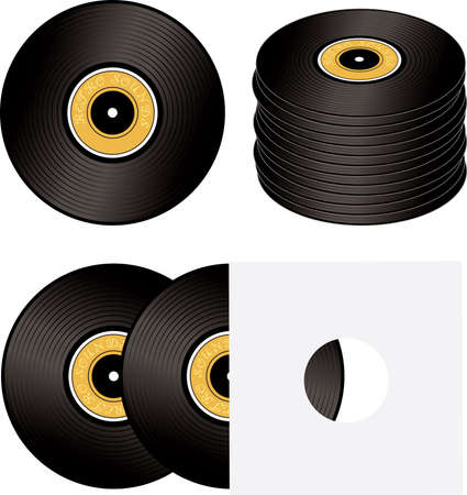 bpm: Old fashioned record in different states with a yellow label