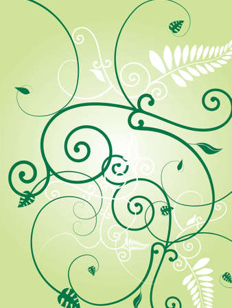 Illustration of a floral wallpaper design with leaves and vines illustration