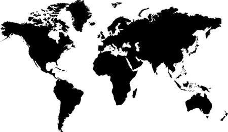 antartica: Isolated black and white map of the word that is editable