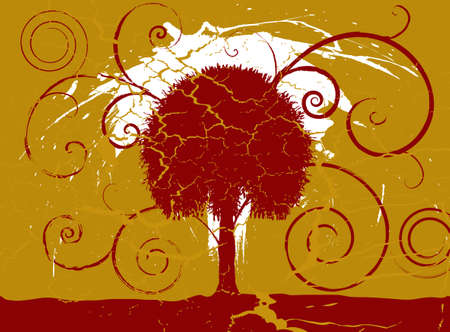 Grunge maroon and gold tree set on a cracked aged background Stock Photo - 1456358