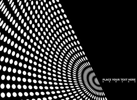 Mono noir et blanc sur fond rayonnant cercles qui ont été déformés