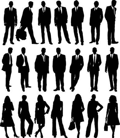 Sammlung von Geschäftsleuten in die Silhouette in verschiedenen Posen
