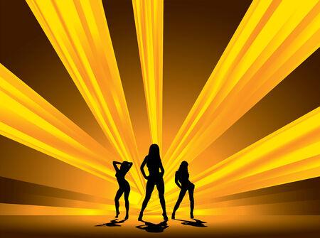 three female dancers set against a blinding array of light