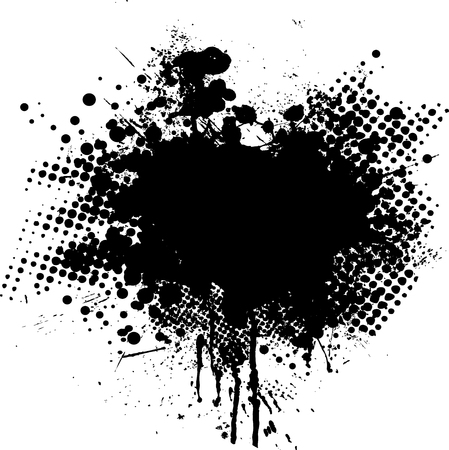 Ink splat overlayed by halftone dots in black and white
