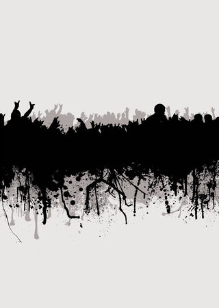 Grunge inspired crowd background in gray and black