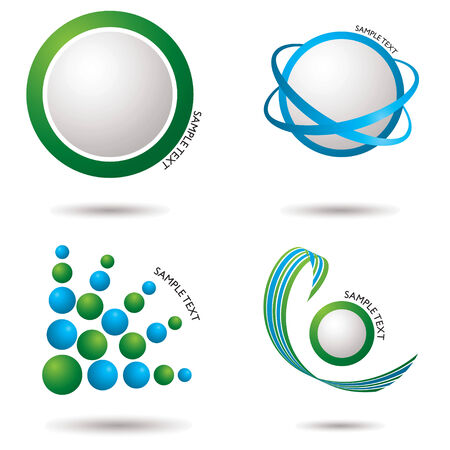 Collection of fresh green and blue icons with shadow