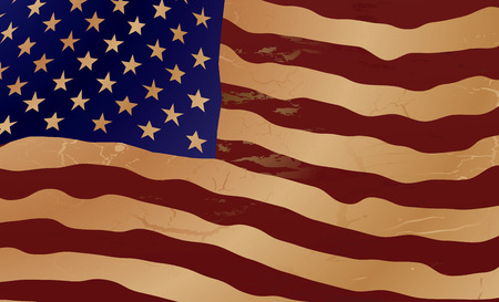 Close up of the american flag in aged shades of brown