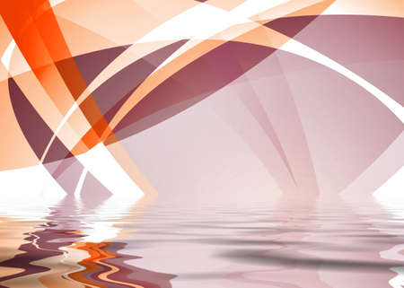 Orange and white abstract background with ripple reflection