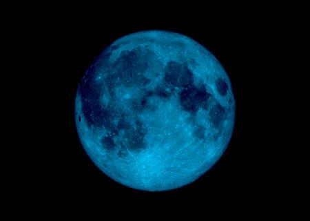 Illustrated lune en bleu avec une galaxie obscure ciel