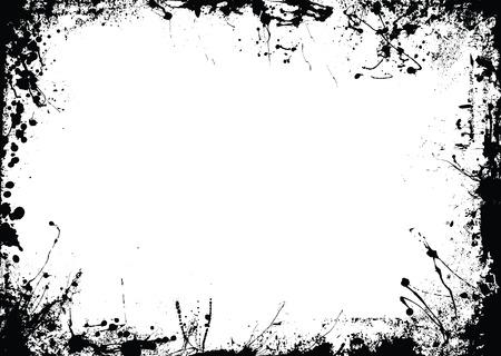 Abstract in bianco e nero inchiostro confine con copia spazio
