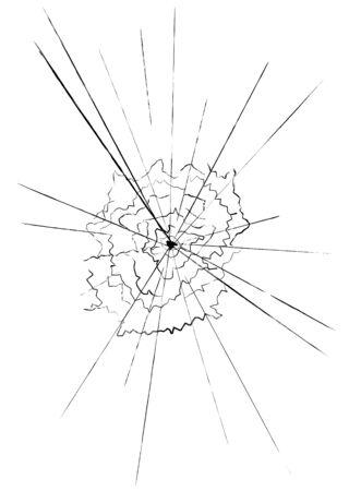 Illustration of shattered glass over a white background