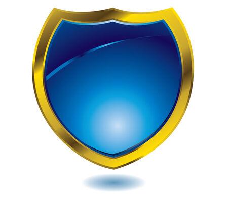 Heráldica ilustración en color azul con un bisel de oro