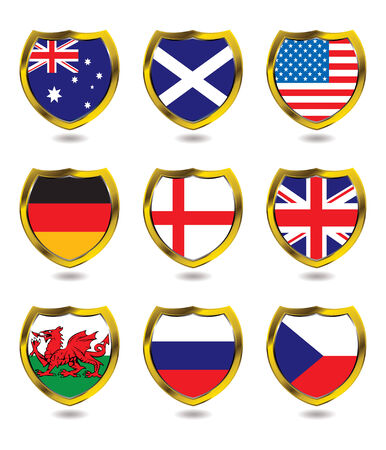 Collection of nine different flag layed over a shield with drop shadow