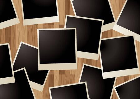 collection of blank polaroid type photos on a wooden background Stock Illustratie