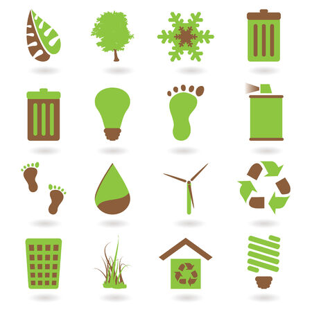Collection of two tone eco green icons with shadow Stock Vector - 3569252