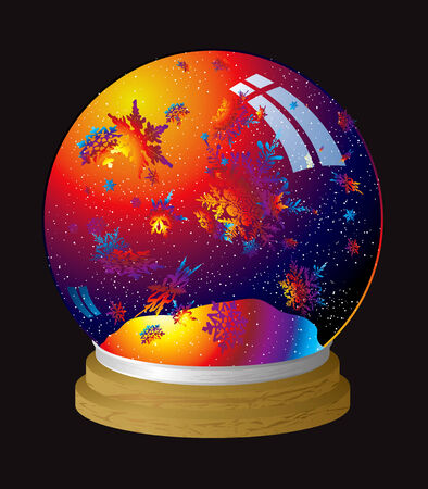 Multi coloured snow globe with flakes of rainbow dust