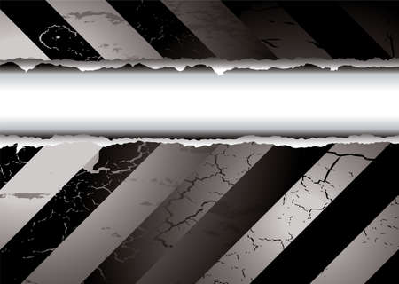 Black and white warning background with a torn middle Stock Vector - 3771177