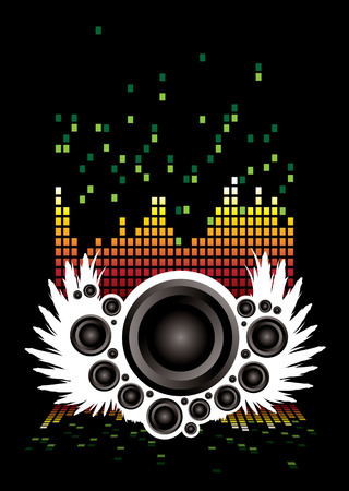 Abstract illustrated musical background with speakers and wings Stock Vector - 3816143