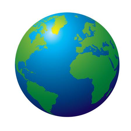 Vista 3D della Terra nel tradizionale colore verde e blu