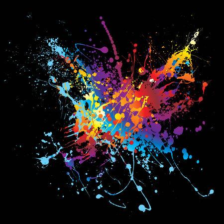 Colourful bright ink splat design with a black background Vektoros illusztráció