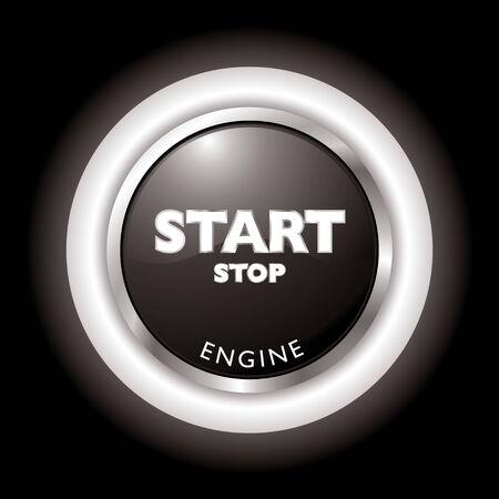 Druk op te starten, stop de motor in zwart-wit