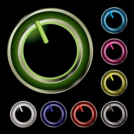 Collection of eight twist buttons with neon glow Stock Vector - 4358526