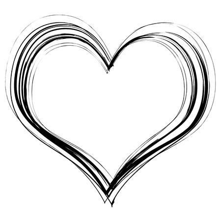 Corazón en el amor garabatos con lápiz negro sobre fondo blanco