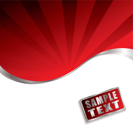 Bright red background with radiating rays of light with silver bevel