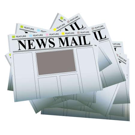 独自のテキストや画像を追加する空白の領域の新聞の山