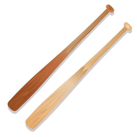 Ilustra dos bates de béisbol con la sombra y la madera de grano