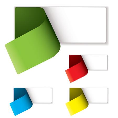 Etichette colorate pelati a rivelare uno spazio vuoto per aggiungere il testo