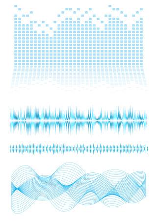 Inspirado en la música de fondo azul con ondas de sonido y ecualizador gráfico