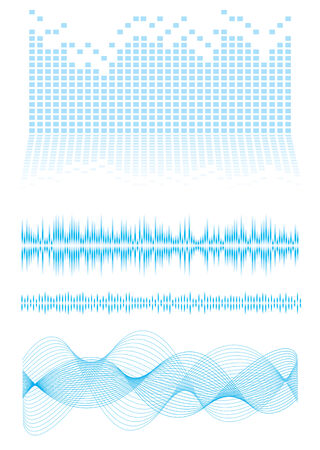 Music inspired background in blue with sound waves and equalizer graph Illusztráció