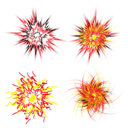 Four brightly coloured star explosions in red yellow and black