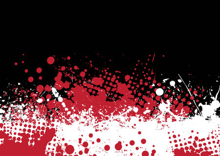 Blood splat abstract background with red and white ink pools