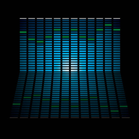 Musical graph with glowing lights and reflection in black background Illusztráció