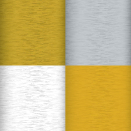 Four brushed metal background surfaces with color variation and grain Illustration