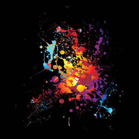 Rainbow ink splat with abstract bright colors with black background