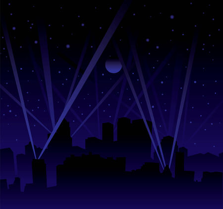 Dark night with large moon and stars with searchlight and city skyline