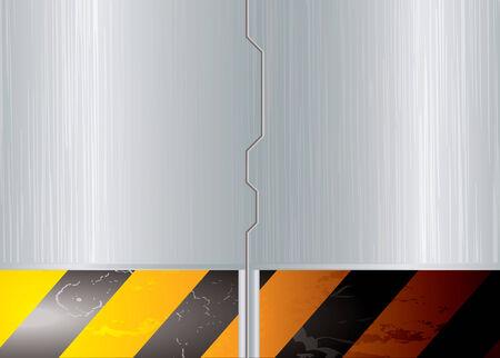 Zilver metaal ruimte schuifdeur met waarschuwing gestreepte banner