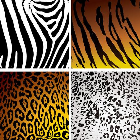 Dierenhuid achtergronden met verschillende camouflage texturen en patronen