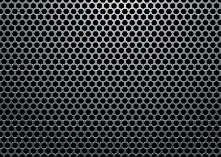 Silver metal background with hexagon holes and light reflection Vektoros illusztráció