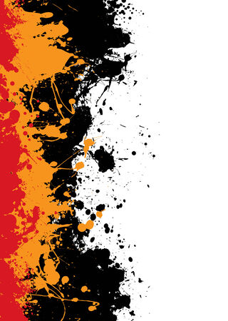 Grunge ink splat background with orange and red paint Иллюстрация