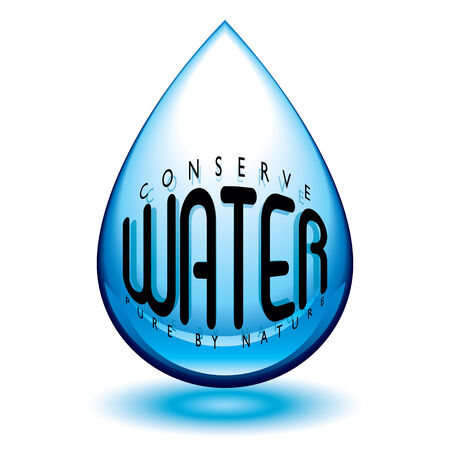 water droplet icon in blue with conserve message and shadow Stock Vector - 5310051