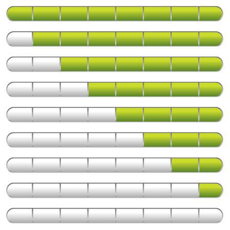 Verzameling van downloaden bars met neon groene indicator